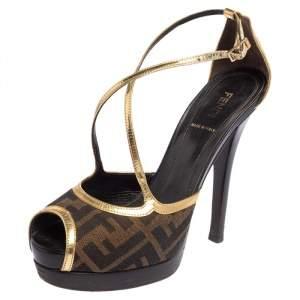 Fendi Zucca Canvas And Gold Leather Trim Cross Strap Platform Sandals Size 38