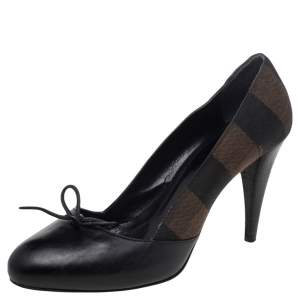 Fendi Black/Brown Leather And Canvas Bow Pumps Size 39