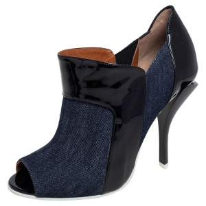 Fendi Blue/Black Patent Leather and Canvas Peep Toe Booties Size 40
