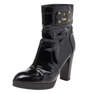 Fendi Black Patent Leather Ankle Length Boots Size 38.5