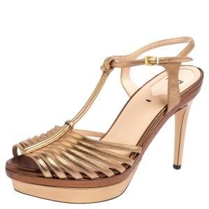 Fendi Gold Leather Strappy T Strap Peep Toe Platform Sandals Size 38.5