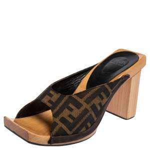 Fendi Zucca Canvas Wooden Mule Slide Sandals Size 39