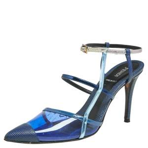 Fendi Blue/Grey Leather, Lizard Embossed Leather And PVC Ankle Strap Sandals Size 38.5