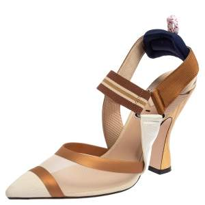 Fendi Beige/Brown Zucca Mesh And Leather Colibri Slingback Sandals Size 39