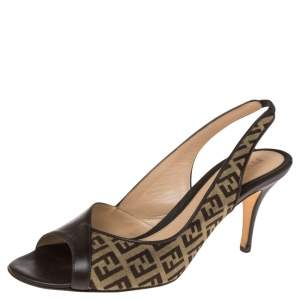 Fendi  Brown Zucca Canvas And Leather Slingback Sandals Size 38