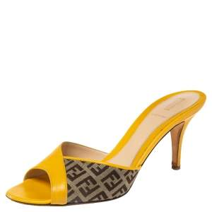 Fendi Yellow/Brown Leather and Zucca Canvas Slide Sandals Size 38