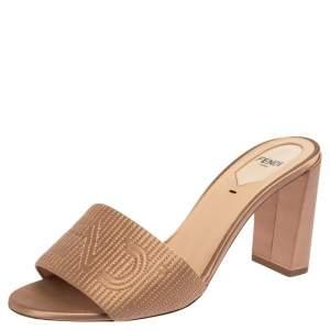 Fendi Beige Satin Logo Embroidered Slide Sandals Size 38.5