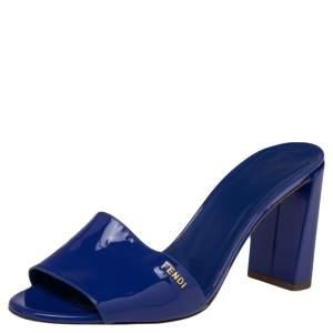 Fendi Blue Patent Leather Logo Detail Block Heel Sandals Size 39