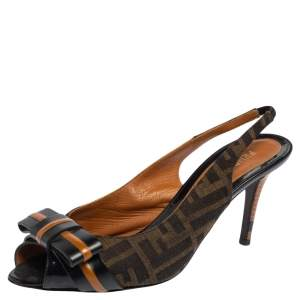 Fendi Black/Brown Zucca Canvas And  Leather Bow Slingback Sandals Size 39