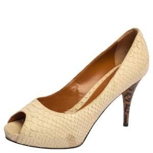 Fendi Cream Python Embossed Leather Peep Toe Platform Pumps Size 38.5