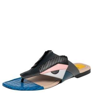 Fendi Multicolor Croc Embossed and Leather Bug Monster Thong Sandals Size 37