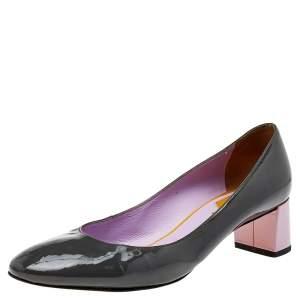 Fendi Grey/Purple Patent Leather Block Heel Pumps Size 37