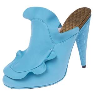 Fendi Blue Leather Stocking Heel Mule Sandals Size 37