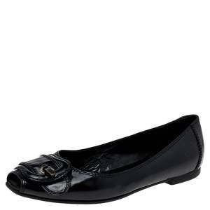 Fendi Black Patent Leather Buckle Flats Size 37