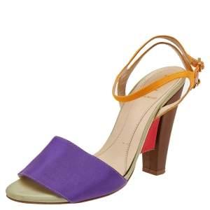 Fendi Multicolor Canvas Ankle Strap Block Heel Sandals Size 38