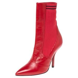 Fendi Red Leather and Knit Fabric Rockoko Ankle Length Boots Size 37