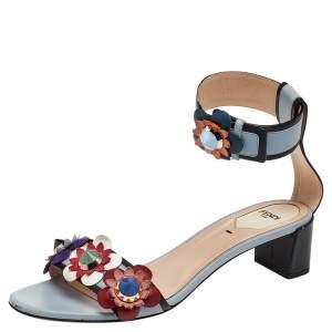 Fendi Blue Leather Flowerland Colorblock Ankle Strap Sandals Size 38.5