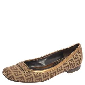 Fendi Gold/Brown Zucca Canvas and Leather Trim Ballet Flats Size 36