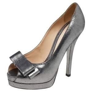 Fendi Metallic Dark Suede Deco Bow Peep Toe Pumps Size 38