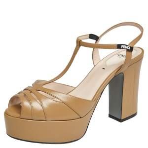 Fendi  Brown Leather T-Strap Cut-out Platform Sandals Size 38.5