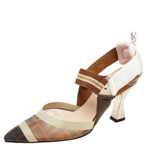 Fendi Brown And Beige FF Print Mesh And Leather Colibri Slingback Sandals Size 36