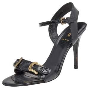 Fendi Black Patent Leather Buckle Ankle Strap Sandals Size 38.5