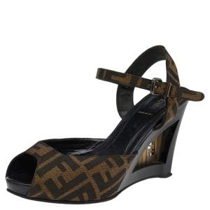 Fendi Brown Zucca Canvas Ankle Strap Wedge Sandals Size 39