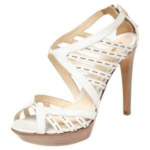 Fendi White Leather Strappy Peep Toe Sandals Size 38