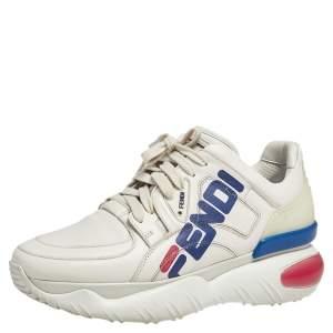 """حذاء رياضي فندي """"فندي فيلا مانيا"""" جلد كريمي مزين شعار الماركة منخفض من أعلى مقاس 39"""