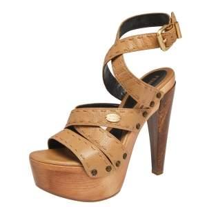 Fendi Brown Leather Criss Cross Wooden Platform Ankle Strap Sandals Size 38