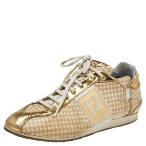 Fendi Beige/Gold Patent And Leather FF Logo Sneakers Size 39