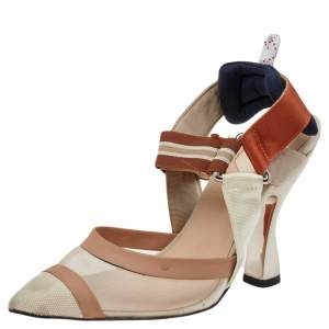 Fendi Multicolor Leather And Mesh Slingback Sandals Size 37.5