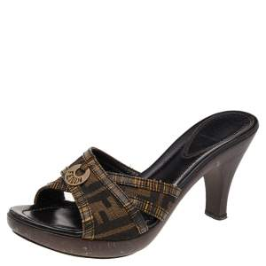 Fendi Brown Zucca Canvas And Leather Slide Sandals Size 39