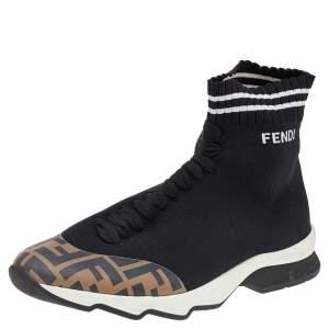 حذاء رياضي فندي قماش وجلد صناعي أسود/زوكا عنق مرتفع مقاس 39