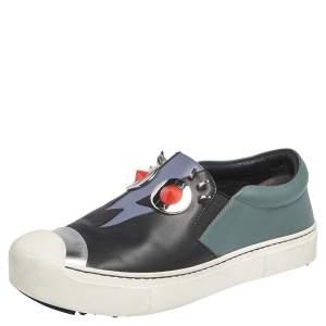 Fendi Black Leather Monster Slip On Sneakers Size 36