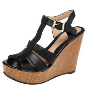 Fendi Black Leather T Strap Wedge Platform Sandals Size 37.5