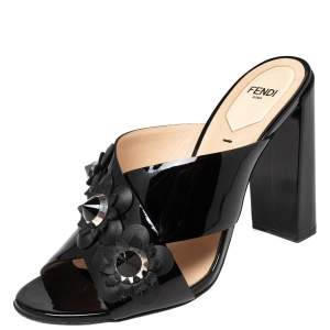 Fendi Black Patent Leather Flowerland Cross Strap Sandals Size 38.5