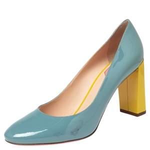 Fendi Yellow/Blue Patent Leather Eloise Block Heel Pumps Size 41