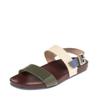 Fendi Multicolor Patent Leather Slingback Flat Sandals Size 37