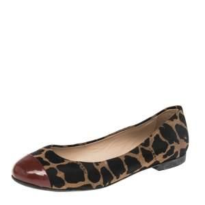Fendi Brown/Black Patent Leather And Canvas Leopard Print Cap Toe Ballet Flats Size 39