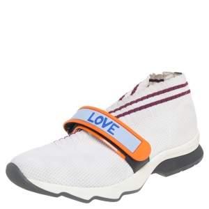 Fendi White Knit Fabric Rockoko  Sneakers Size 37