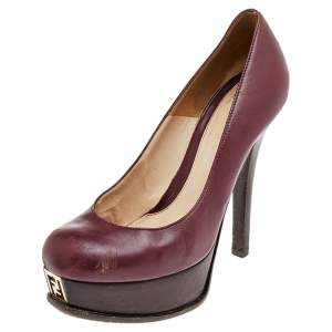Fendi Burgundy Leather Fendista Platform Pumps Size 37.5