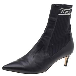 Fendi Black Leather And Stretch Knit Fabric Rockoko Ankle Boots Size 37.5