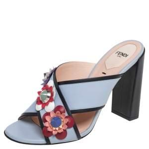 Fendi Light Blue Leather Flowerland Block Heel Slide Sandals Size 38.5