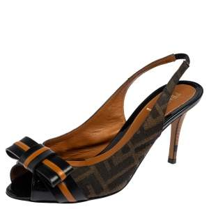 Fendi Tobacco Zucca Canvas and Leather Bow Peep Toe Slingback Sandals Size 38