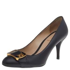 Fendi Black Leather FF Buckle Pumps Size 37.5