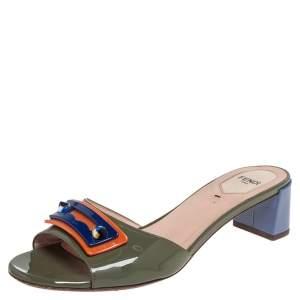 Fendi Multicolor Patent Leather Embellished Slide Sandals Size 39
