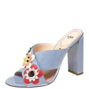 Fendi Blue Patent Leather Flowerland Mule Sandals Size 38
