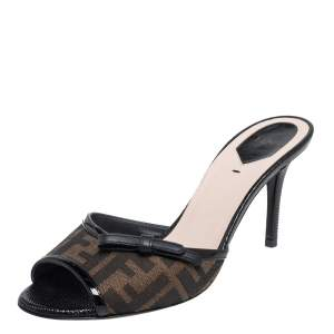 Fendi Brown/Black Zucca Canvas And  Patent Leather Bow Slide Sandals Size 39