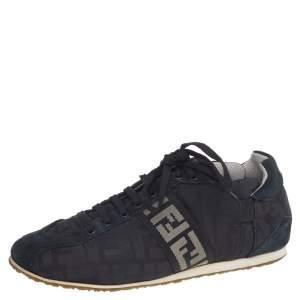 حذاء رياضي فندي كانفاس FF وسويدي أسود عنق منخفض مقاس 39